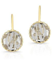 Anne Sisteron - 14kt Yellow Gold White Topaz Small Round Earrings - Lyst