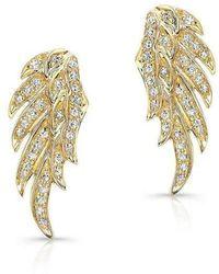 Anne Sisteron - 14kt Yellow Gold Diamond Wing Stud Earrings - Lyst
