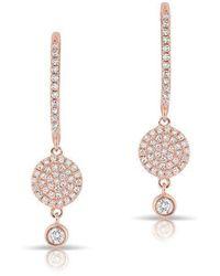 Anne Sisteron - 14kt Rose Gold Diamond Disc Solitaire Drop Wireback Earrings - Lyst