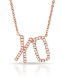 Anne Sisteron - 14kt Rose Gold Diamond Xo Necklace - Lyst