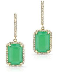 Anne Sisteron - 14kt Yellow Gold Rectangle Chrysoprase Diamond Earrings - Lyst