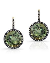 Anne Sisteron - 14kt Oxidized Yellow Gold Green Amethyst Diamond Round Earrings - Lyst