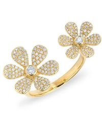 Anne Sisteron - 14kt Yellow Gold Diamond Floating Double Daisy Flower Ring - Lyst