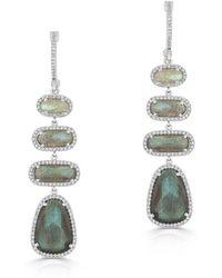 Anne Sisteron - 14kt White Gold Labradorite Diamond Trickle Earrings - Lyst