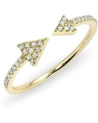 Anne Sisteron - 14kt Yellow Gold Diamond Open Double Triangle Ring - Lyst