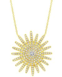Anne Sisteron - 14kt Yellow Gold Diamond Aurora Sun Necklace - Lyst