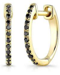 Anne Sisteron - 14kt Yellow Gold Black Diamond Huggie Earrings - Lyst
