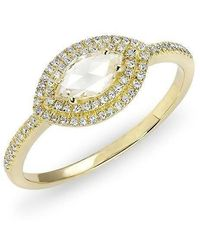 Anne Sisteron - 14kt Yellow Gold Diamond Marquis Double Halo Ring - Lyst