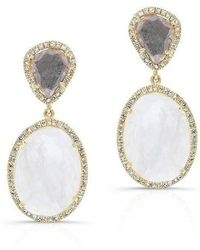Anne Sisteron - 14kt Yellow Gold Organic Moonstone And Diamond Slice Earrings - Lyst