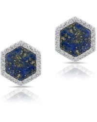 Anne Sisteron | 14kt White Gold Lapis Diamond Hexagon Stud Earrings | Lyst