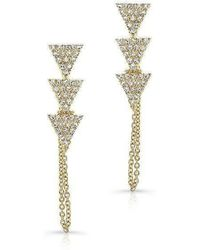 Anne Sisteron | 14kt Yellow Gold Diamond Stacked Triangle Chain Earrings | Lyst