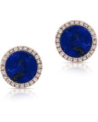 Anne Sisteron - 14kt Rose Gold Lapis Diamond Disc Stud Earrings - Lyst