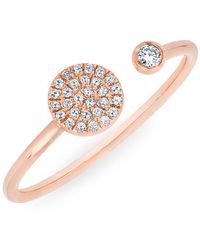 Anne Sisteron - 14kt Rose Gold Diamond Disc And Bezel Ring - Lyst
