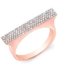 Anne Sisteron - 14kt Rose Gold Diamond Thick Bar Ring - Lyst