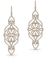 Anne Sisteron - 14kt Rose Gold Diamond Manoir Diamond Earrings - Lyst