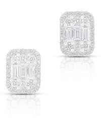 Anne Sisteron - 14kt White Gold Baguette Diamond Rectangle Stud Earrings - Lyst