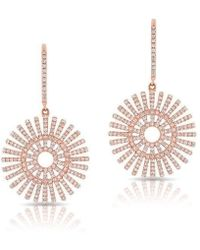 Anne Sisteron - 14kt Rose Gold Diamond Sun Rays Wireback Earrings - Lyst