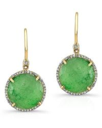 Anne Sisteron - 14kt Yellow Gold Jade Diamond Round Earrings - Lyst