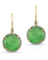 Anne Sisteron | 14kt Yellow Gold Jade Diamond Round Earrings | Lyst