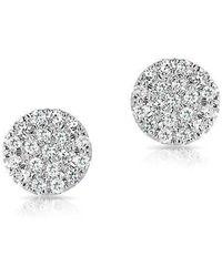 Anne Sisteron - 14kt White Gold Mini Diamond Disc Stud Earrings - Lyst