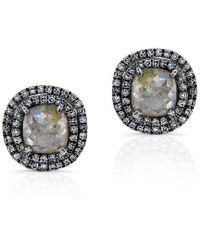 Anne Sisteron - 14kt Oxidized White Gold Raw Diamond Double Halo Stud Earrings - Lyst