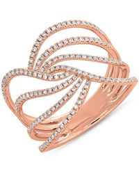 Anne Sisteron - 14kt Rose Gold Diamond Willow Ring - Lyst