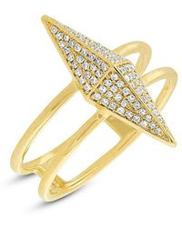 Anne Sisteron - 14kt Yellow Gold Diamond Pave Pyramid Ring - Lyst