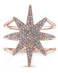 Anne Sisteron - 14kt Rose Gold Diamond Star Ring - Lyst