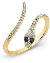Anne Sisteron - 14kt Yellow Gold Diamond Slytherin Ring With Black Diamond Eyes - Lyst