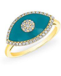 Anne Sisteron - 14kt Yellow Gold Diamond Turquoise Evil Eye Summer Ring - Lyst