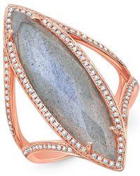 Anne Sisteron - 14kt Rose Gold Diamond Labradorite Alexis Ring - Lyst
