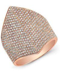 Anne Sisteron - 14kt Rose Gold Diamond Helmet Ring - Lyst