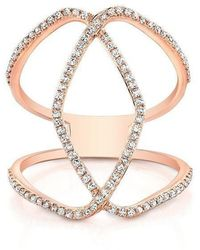 Anne Sisteron - 14kt Rose Gold Diamond Edgy Cigar Band Ring - Lyst