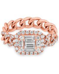 Anne Sisteron - 14kt Rose Gold Baguette Diamond Nikolina Ring - Lyst