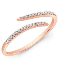 Anne Sisteron - 14kt Rose Gold Diamond Open Embrace Ring - Lyst