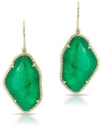 Anne Sisteron - 14kt Yellow Gold Emerald Nuage Diamond Earrings - Lyst