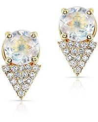 Anne Sisteron - 14kt Yellow Gold Moonstone Diamond Maddie Stud Earrings - Lyst