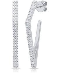 Anne Sisteron - 14kt White Gold Diamond Edgy Wishbone Earrings - Lyst