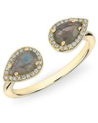 Anne Sisteron - 14kt Yellow Gold Labradorite Diamond Throne Ring - Lyst