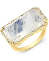 Anne Sisteron - 14kt Yellow Gold Diamond Base Moonstone Ring - Lyst