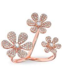 Anne Sisteron   14kt Rose Gold Diamond Floating Triple Daisy Flower Ring   Lyst