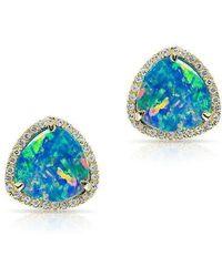 Anne Sisteron - 14kt White Gold Green Opal Diamond Heavenly Stud Earrings - Lyst