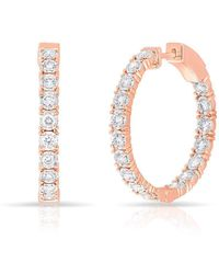 Anne Sisteron - 14kt Rose Gold Diamond Small Bella Hoop Earrings - Lyst