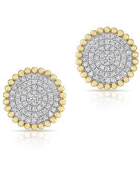 Anne Sisteron - 14kt Yellow Gold Diamond Large Scalloped Disc Stud Earrings - Lyst