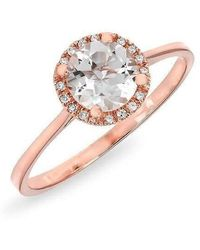 Anne Sisteron - 14kt Rose Gold White Topaz Solitaire Diamond Halo Ring - Lyst