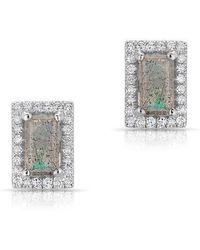 Anne Sisteron - 14kt White Gold Labradorite Diamond Mini Rectangle Stud Earrings - Lyst