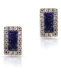 Anne Sisteron - 14kt Rose Gold Lapis Diamond Bar Stud Earrings - Lyst