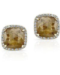 Anne Sisteron - 14kt Yellow Gold Diamond Slice Square Stud Earrings - Lyst