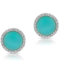 Anne Sisteron - 14kt Yellow Gold Turquoise Diamond Disc Stud Earrings - Lyst