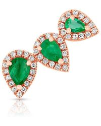 Anne Sisteron - 14kt Rose Gold Diamond Emerald Valis Ear Climber - Lyst